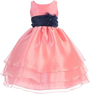 f4f0ad366dc Calla Collection Little Girls Coral Navy Floral Sash Flower Girl Dress 2T-6