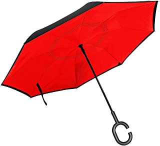 Self Stand Upside Down with C-Shaped Handle PYFXSALA Lovely Birds Pattern Windproof Inverted Umbrella Double Layer UV Protection Folding Reverse Umbrella for Car Rain Outdoor