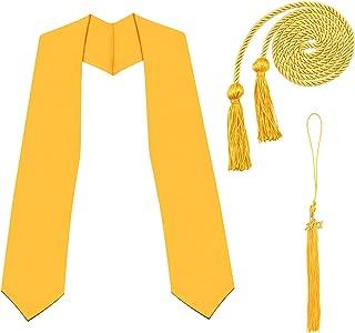 WANDIC WANDIC 2021 Graduation Honors, Set mit 3 Gold-Stolen, Honor Cord und Graduation Quaste mit 2021 Gold Charm für Graduate Day und Graduates Fotografie Student School