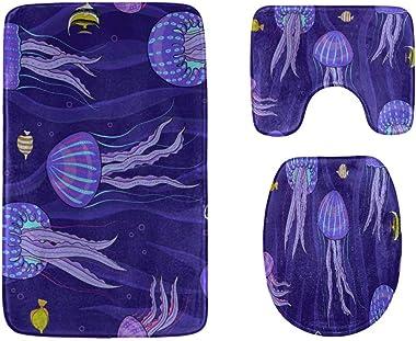 Zemivs Beautiful Water Creature Jellyfish - Alfombrillas para baño, Juego de alfombras de baño de 3 Piezas, Suaves, Alfombril