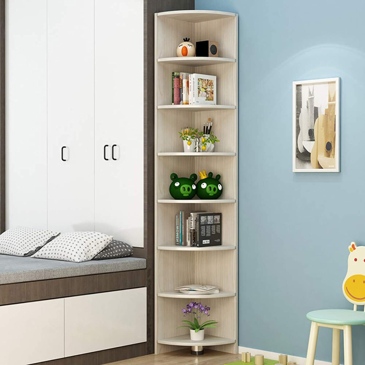 Solid Wood Corner Bookcase, 5-Tier Storage Cabinet, Multi-Layer Storage Rack Display Shelf for Home Or Office-c 90x30x30cm(35x12x12inch)