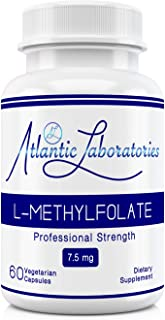 Atlantic Laboratories (5-MTHF) L-Methylfolate 7.5 mg - 7500 mcg - 60 Vegetarian Capsules - Professional Strength Active Fo...