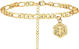 Long tiantian Initial Anklet for Women Cuban Ankle Bracelet with Letter Gold Alphabet Initial Anklet for Girls