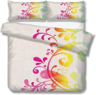for Kids/Teens/Adults Hidden Zipper Quilt Cover Printed Vintage Rainbow,Ornamental Flowers and Foliage Pattern Romantic Victorian Swirl Arrangement, Multicolor Duvet Cover Set King Size 104x89 inch