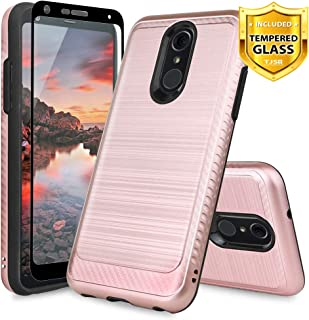 TJS LG Q7 / LG Q7 Plus Case, with [Full Coverage Tempered Glass Screen Protector] Hybrid Shockproof Resist Drop Protection Phone Case Cover Metallic Brush Finish Hard Inner Layer (Pink)