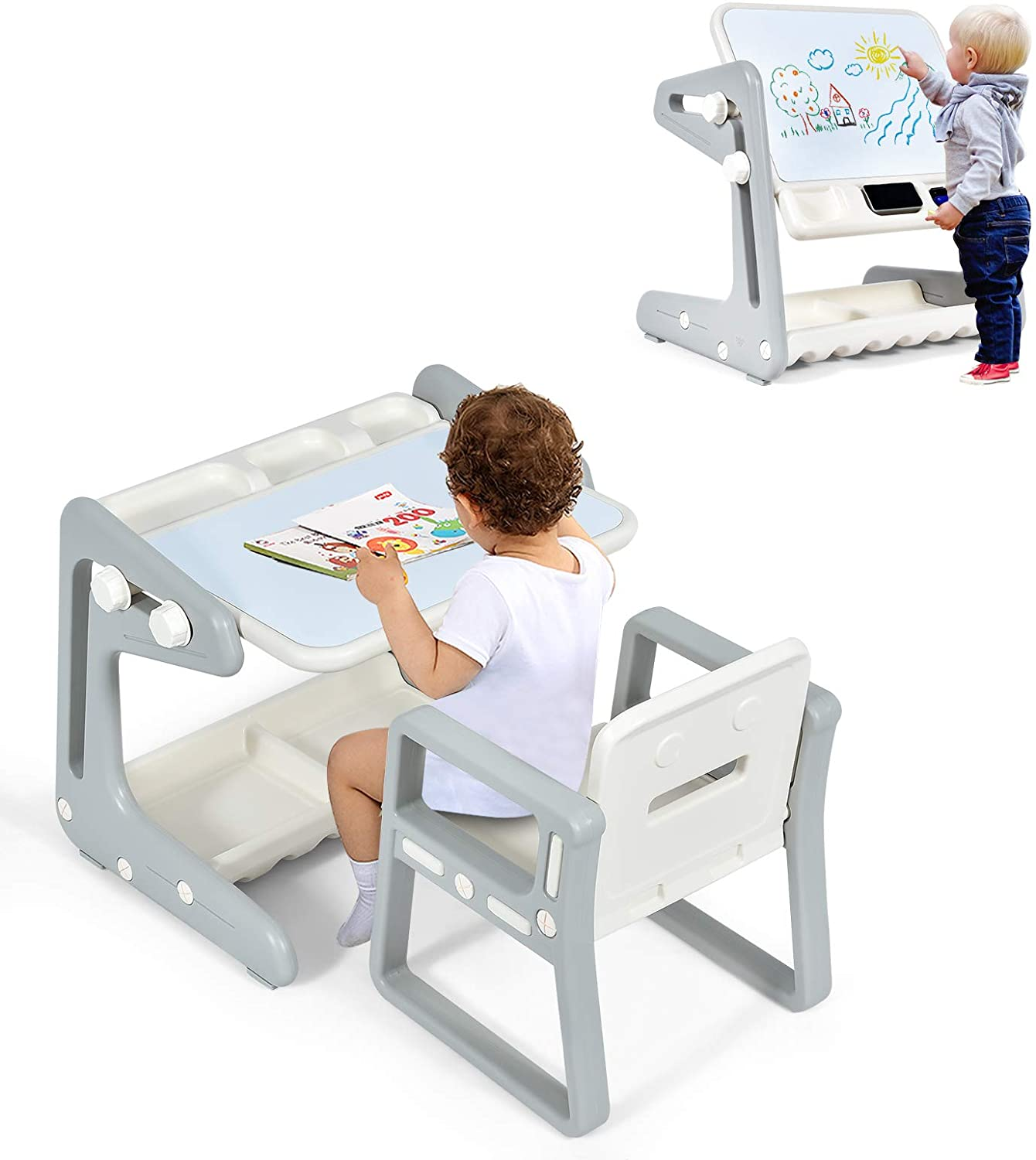 Costzon 2 in SALENEW very popular! 1 Kids Table w San Diego Mall Magnet Chair Adjustable Art Easel