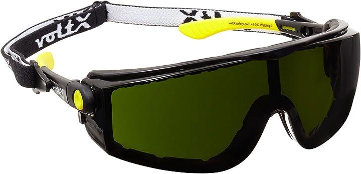 straightlines occhiali di sicurezza per saldatura - n° 5 - inserto in gommapiuma e fascia rimovibile - certificazione ce vx-707 w5