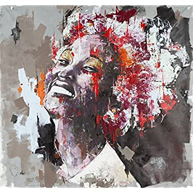 Shai Yossef 'Layla' EXTRA extra-large black american african woman BEAUTIFUL portrait oil painting print on canvas by the artist, wall decor art prints for livingroom great art UNFRAMED