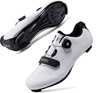 Mens Cycling Shoes Road Bike Shoes with Buckle Premium Microtex Shoes with Cleat Men SPD Shoes for Indoor Road Racing Bikes