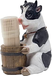 Decorative Holstein Cow Toothpick Holder Set Figurine with Wood Toothpicks and Old Fashioned Water Pail Display Stand for Rustic Bar or Country Kitchen Décor as Farm Animal Gifts for Dairy Farmers