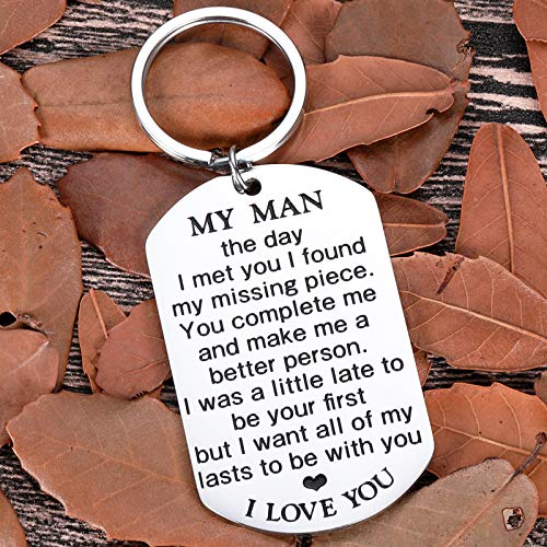 My Man Keychain Anniversary Valentine\'s Day Gifts For Him Men Boyfriend Husband To Be Key Chain I Love You Gifts for Hubby Birthday Fiance Groom Wedding Engagement Presents from Girlfriend Wife Silver