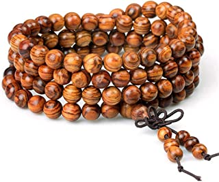 wintefei Women Men 8mm Wooden Bead Buddhist Prayer Mala Necklace Bracelet Gift Jewelry