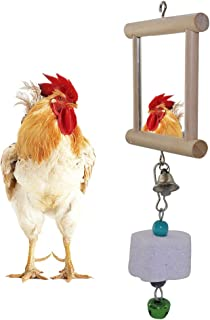 Lanermoon Chicken Toys Swing Hanging Mirror with Bell and Molar
