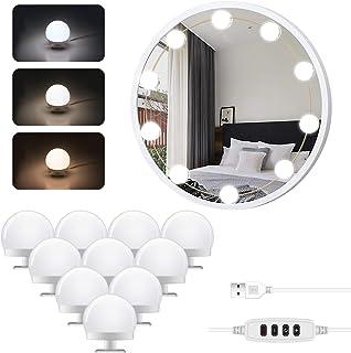 LED Vanity Mirror Lights Kit, Hollywood Style Makeup Mirror Lights Kit with 10 Dimmable Light Bulbs, Adjustable 3 Colors M...