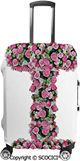SCOCICI Travel Luggage Cover Suitcase Cover Initial Letter I with Colorful Blooming Bouquet Daisies Realistic Looking Flowers Suitcase Luggage Case Covers Fits 19-32 Inch