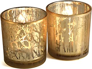 lEPECQ Home Decorations Candle Holders, Gold Glass Votive Candle Holders, Tealight Candle Holders with Tree Branches Pattern, Decorative Candle Holders for Wedding, Table, Party, 3.14