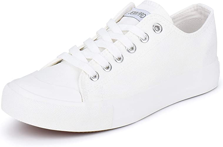 JENN ARDOR Women's Canvas Shoes Casual Sneakers Low Top Lace Up Fashion Comfortable Walking Flats