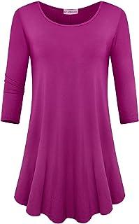 JollieLovin Womens 3/4 Sleeve Loose Fit Swing Tunic Tops Basic T Shirt