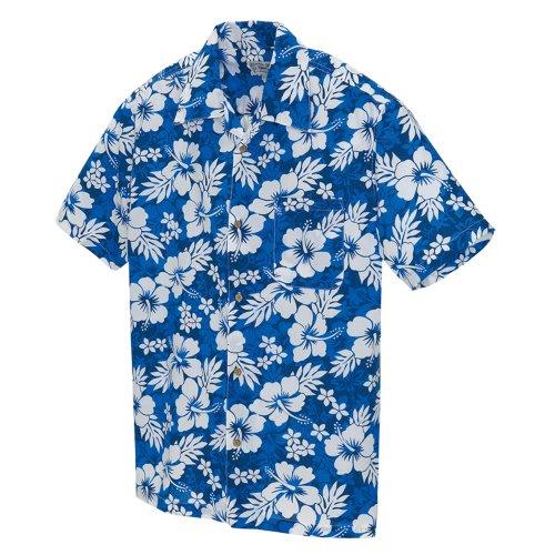 アイトス 大きいサイズ(3L) アロハシャツ(ハイビスカス)(男女兼用) 006/ブルー AZ-56102