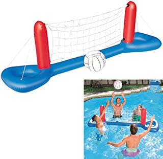 Inflatable pool volleyball game set with ball summer floating water volleyball game for swimming fun, 244 * 64 cm