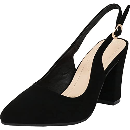 1eedf159efc2 Cambridge Select Women s Closed Pointed Toe Slingback Chunky Block Heel Pump