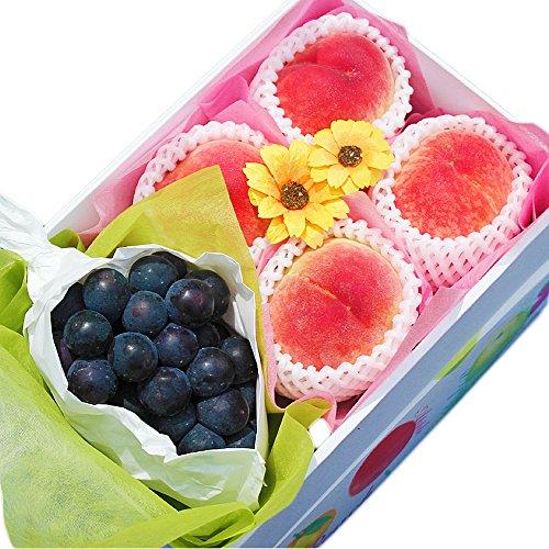 【 旬の産地より 】 種無し ぶどう & 完熟 桃 化粧箱入り (小セット)