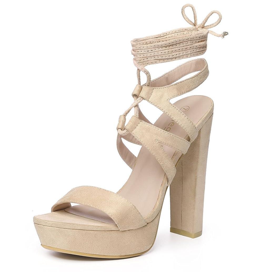 Allegra K Women's Lace Up Platform Heels Chunky Heel Sandals