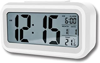 Autumn Digital Alarm Clock, Battery Operated Long Battery Life Alarm Clock, Back Light/Snooze Function/Large Digit Display/Electronic Alarm Clock for Kids/Bedroom/Heavy Sleepers/Travel/Loud (White)