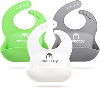 Momcozy Silicone Baby Bibs Easily Clean Set of 3, Soft Adjustable Toddler Silicone Bibs for Babies Girl and Boy, Waterproo...