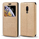 Meizu 15 Plus Case, Wood Grain Leather Case with Card
