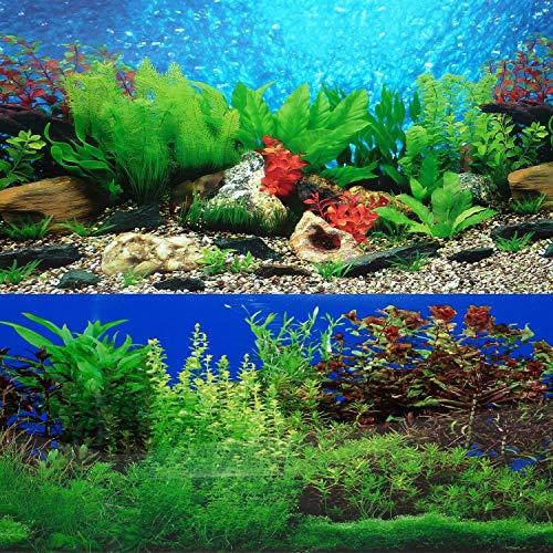 ELEBOX New 20' x 48' Fish Tank Background 2 Sided River Bed & Lake Background Aquarium