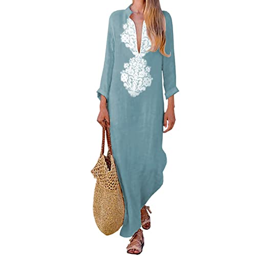 73015ef6079309 Asskdan Women's Floral Printed Cotton Linen Long Sleeve Solid Loose V  Neckline Boho Long Dress Kaftan
