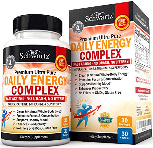 Daily Energy Complex with Caffeine & L-Theanine for Natural Energy Without The Jitters - Promotes Focus & Concentration- Superfood Formula to Enhance Productivity & Support Healthy Mood - 30 Capsules