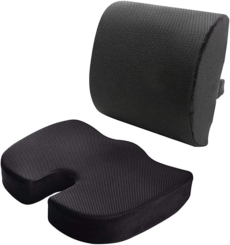 HEBE Memory Foam Seat Cushion And Lumbar Support Pillow Set Of 2 For Office Chair And Car Seat Cushions Mesh Fabric Relieves Back Pain Tail Bone Pain Sciatica Seat Cushion