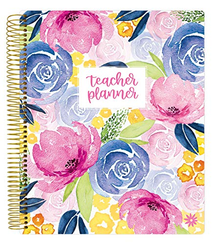 bloom daily planners Undated Academic Year Teacher Planner - Lesson Plan Calendar Book - 9' x 11' - Watercolor Floral
