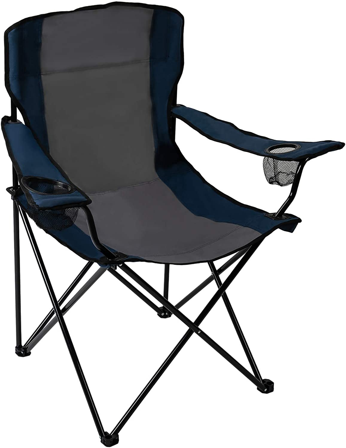 Pacific Pass Portable Sports Two Cup Holders and Carry Bag, Lightweight Backpack Quad Camp Chair for Outdoor, Fishing, Hiking, Middle, Blue/Gray