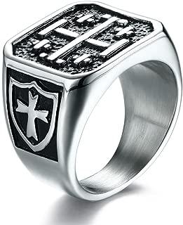 Stainless Steel Knights Templar Ring Crusader Jerusalem Cross Ring for Men Boy,Christian Jewelry