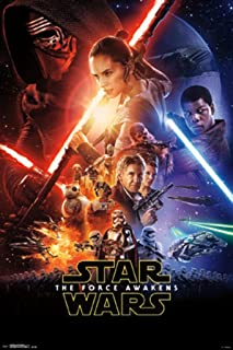 Bundle - 2 Items - Star Wars Episode 7 VII The Force Awakens Official One Sheet Poster - 91.5 x 61cms (36 x 24 Inches) and a Set of 4 Repositionable Adhesive Pads For Easy Wall Fixing