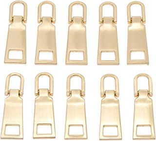 KOZOREN 10 Pieces Zipper Head Zipper Pull Tabs Replacement Heavy Duty Zip Fixer Zipper Tags Repair Pull Tab for Clothes, Suitcase, Backpack, DIY Craft,#5, Pale Gold
