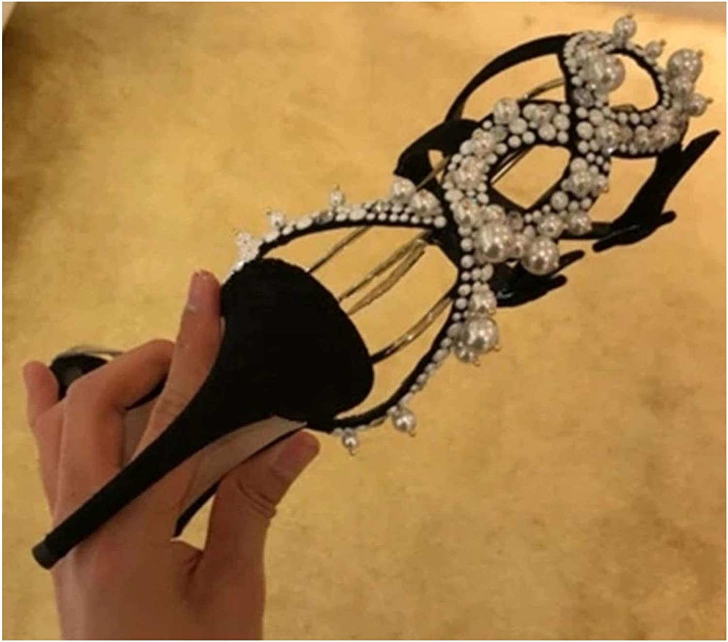 Outcome1 Sexy Narrow Ankle Buckle Strap Decor White Pearls Women Sandals Open Toe Heels Side Open Luxury Jewelry shoes