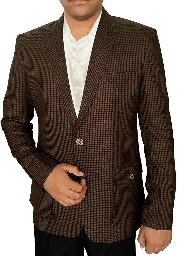 INMONARCH Mens Slim fit Casual Brown Blazer Sport Jacket Coat Small Shepherd's Check SB59