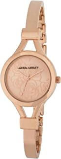 Laura Ashley Women's Silver Thin Bangle with Floral Dial Watch, Rose Gold