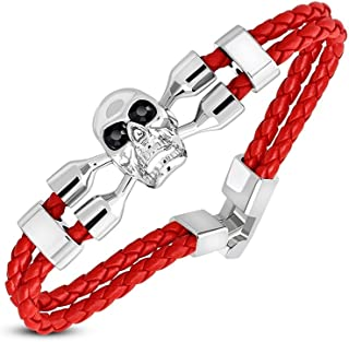 Fashion Skull Crossbones Watch-Style Double Strand Braided Red Leather Toggle Bracelet with Jet Black CZ