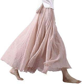 Women Bohemian Cotton Linen Double Layer Elastic Waist...