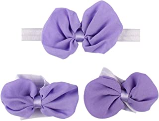 Dolloress Multi Colors Flower Headband Hair Belt Band Clip Girls Ribbon Bow with Barefoot Sandal for Kids Toddler Headwear Accessories for 6-36 Months