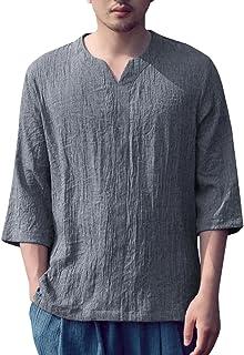 14d0674471eacf SySea Mens Vintage Hippie 3 4 Sleeve V Neck Linen Shirts Summer Yoga Tops