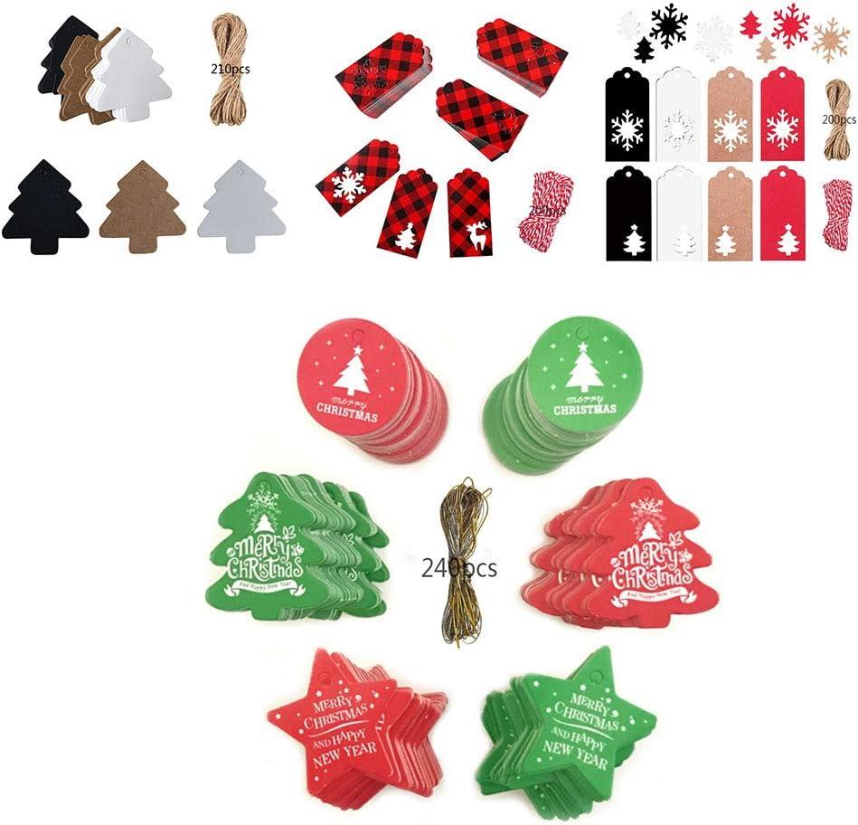 Anyingkai 201PCS Etiquetas de Navidad,Etiquetas de Papel Kraft,Papel Kraft Etiquetas,papel Kraft Etiqueta colgante,/Árbol de Navidad Etiqueta