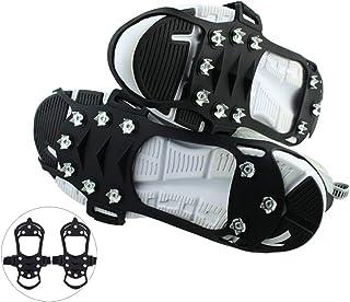 10 tänder klättringskrampar för utomhus promenad isfiske snöskor Antiskid Non glid stövlar skor stål studs sko täcker,S