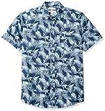 Amazon Essentials Herren-Hemd, Kurzarm, reguläre Passform, gemustert, Palm Leaf, US L (EU L)