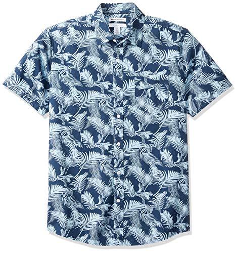 Amazon Essentials - Camicia a maniche corte da uomo, con stampa, vestibilità regolare, Palm Leaf, US M (EU M)